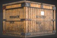3D old wooden box model
