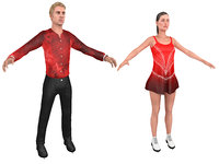 male female figure skater 3D model