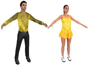 3D male female figure skater model