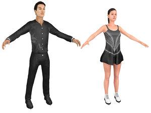 male female figure skater 3D model