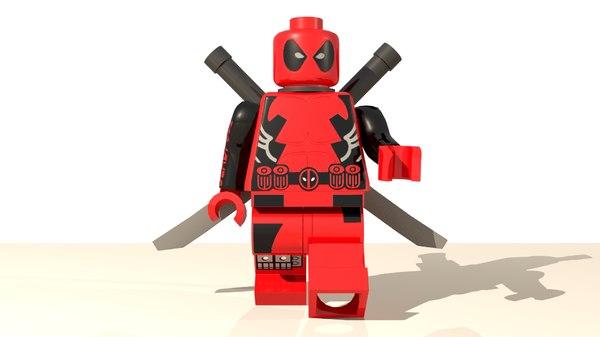 3D lego deadpool character
