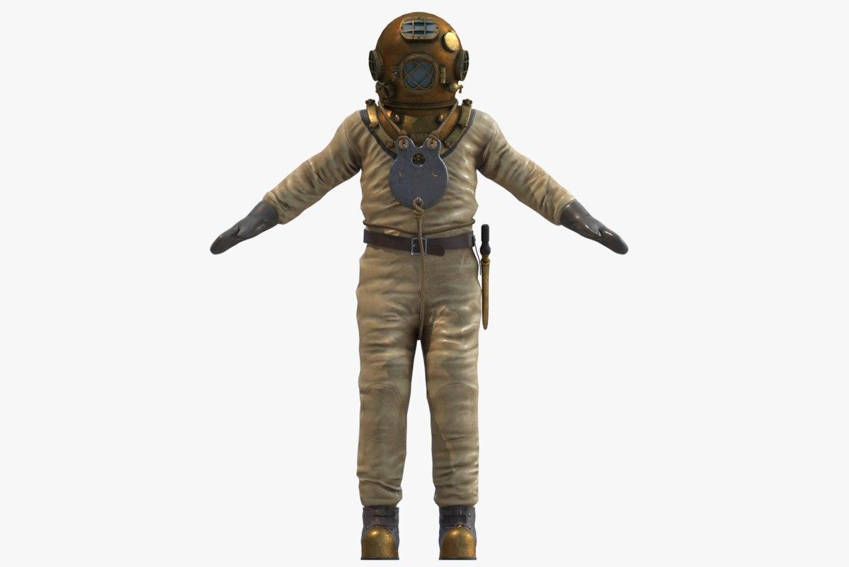 3D old diver suit