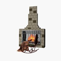 fireplace rocking-chair 3D model