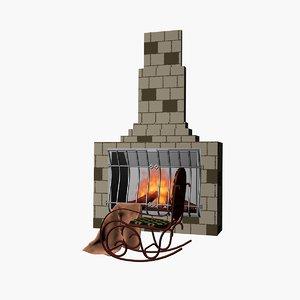 fireplace rocking-chair 3D model