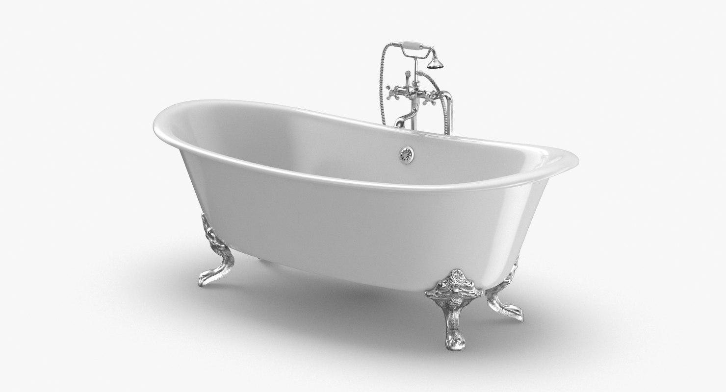 classical bathtub - faucet 3D