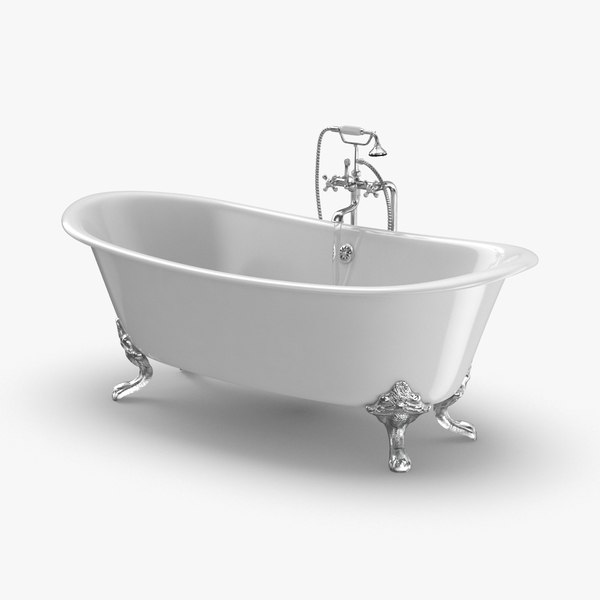 3D classical bathtub - faucet model