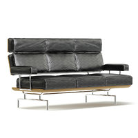 3D rectangular black sofa model