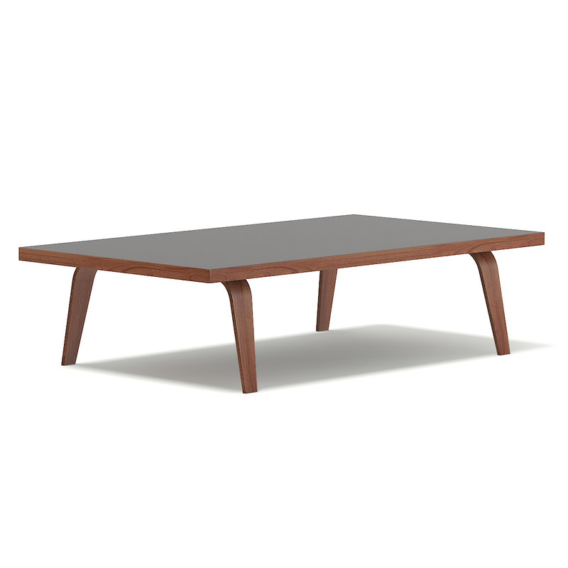 3D model rectangular coffee table dark wood
