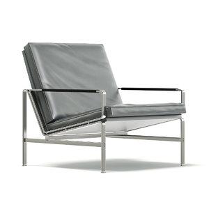 3D metal armchair grey model