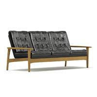 classic black sofa 3D model