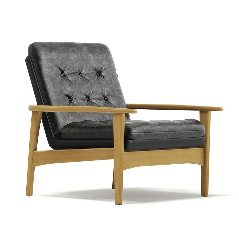 3D model classic black armchair
