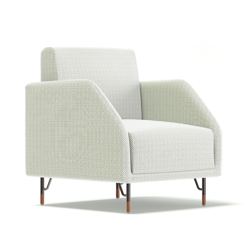 3D white fabric armchair model