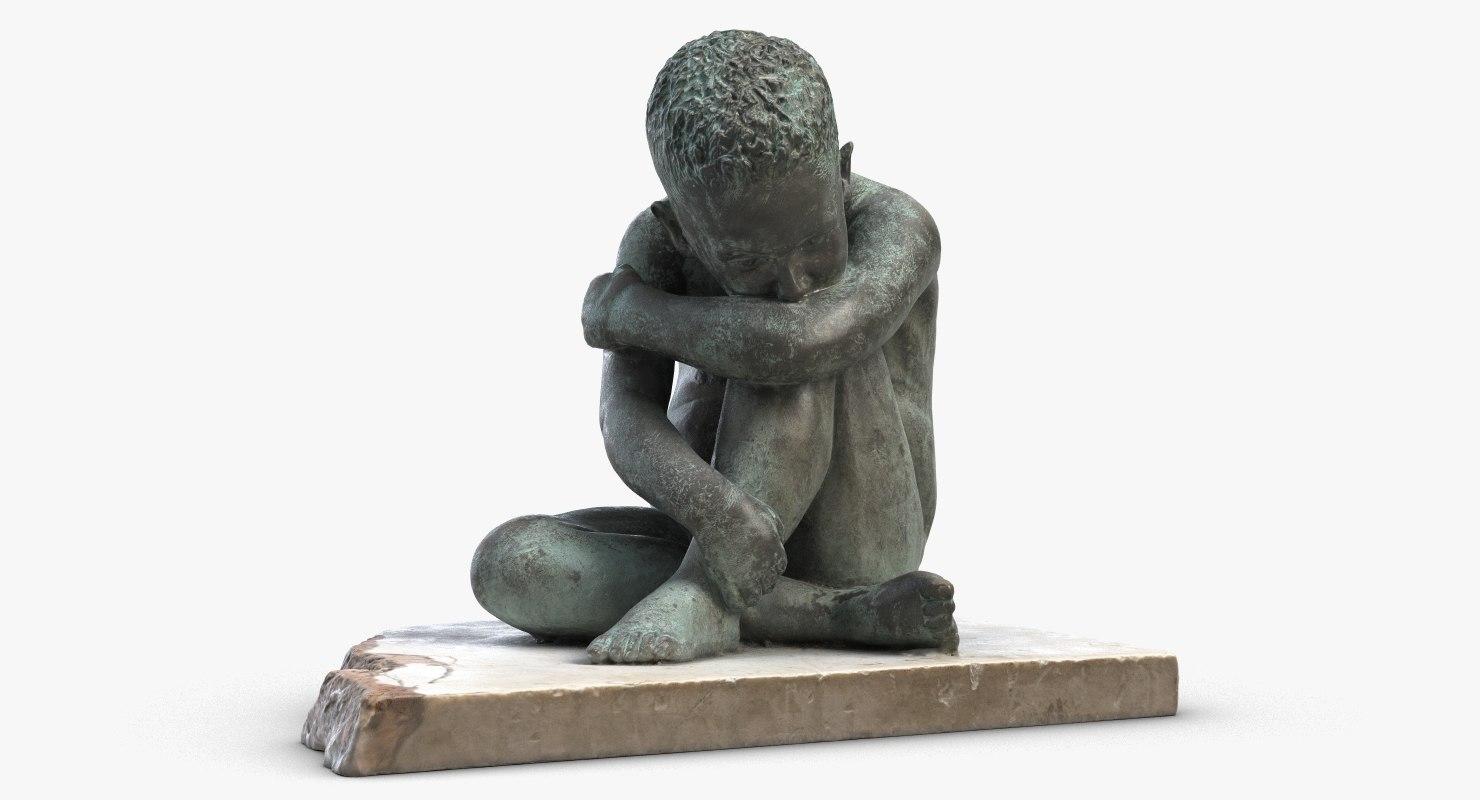 3D sculpture thinker child model