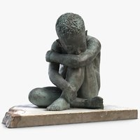 3D sculpture thinker child model