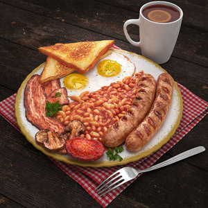 3D english breakfast model