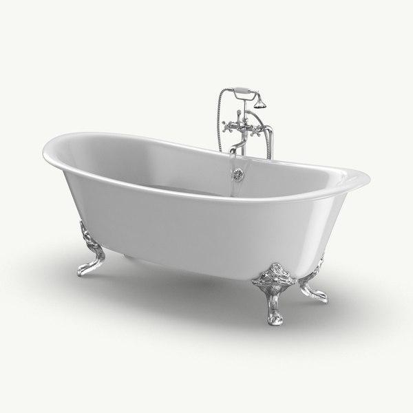 3D classical bathtub - faucet
