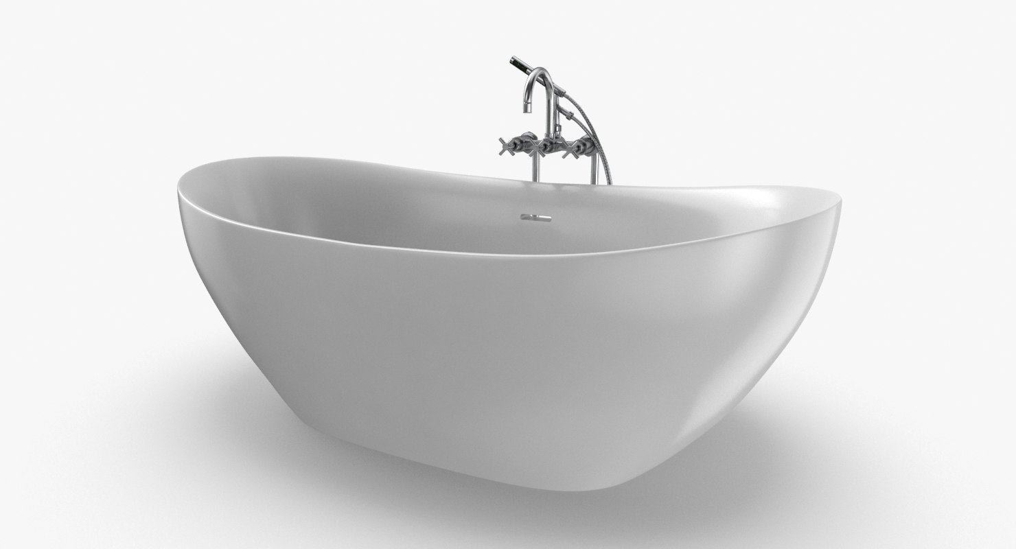 modern bathtub - faucet 3D model