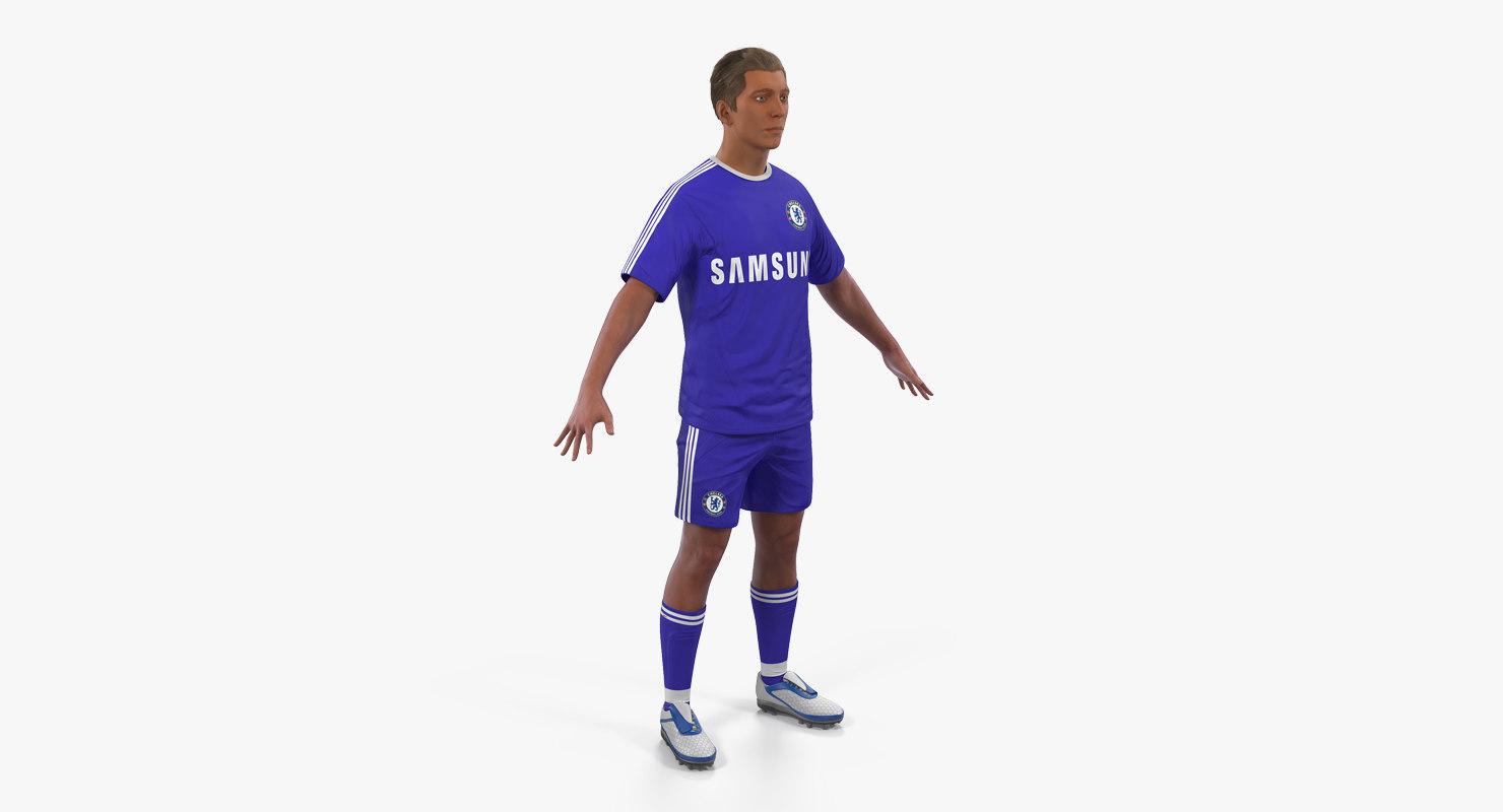 3D soccer football player chelsea model