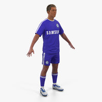 3D soccer football player chelsea model