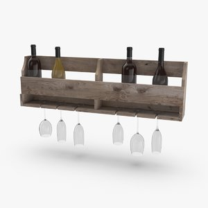 wall wine rack 02 3D model