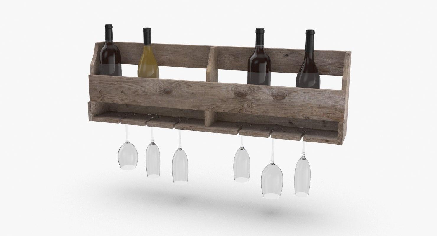 wall wine rack 02 3D model