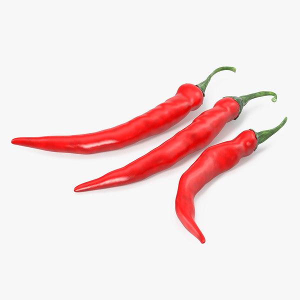 3D model red chili pepper