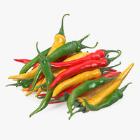 bunch chili peppers 3D