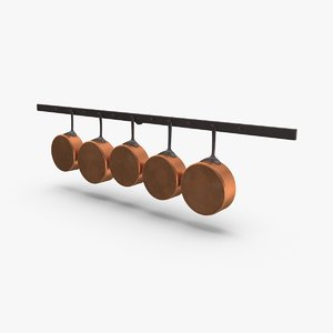 3D kitchen pan rack 01