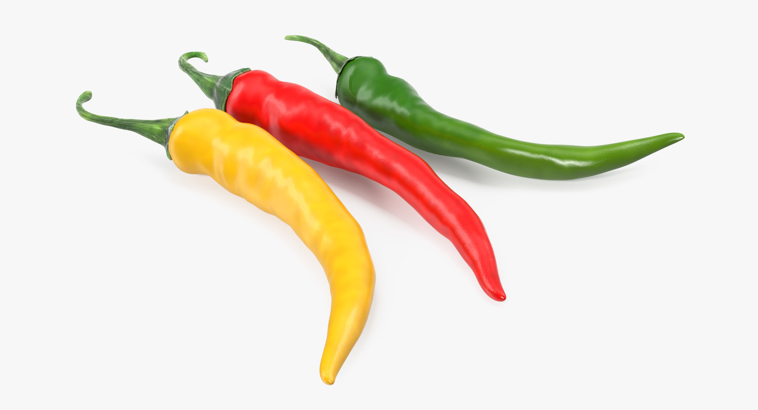 colored chili peppers set 3D