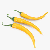 3D chili peppers set yellow model