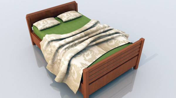 bed pillow bedsheet 3D model
