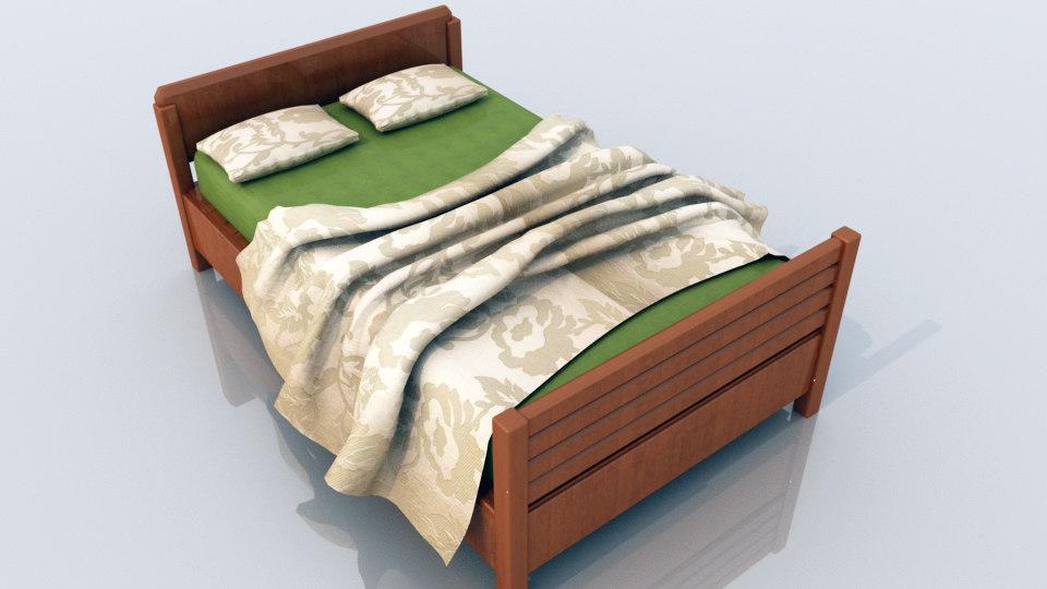 bed pillow bedsheet 3D model