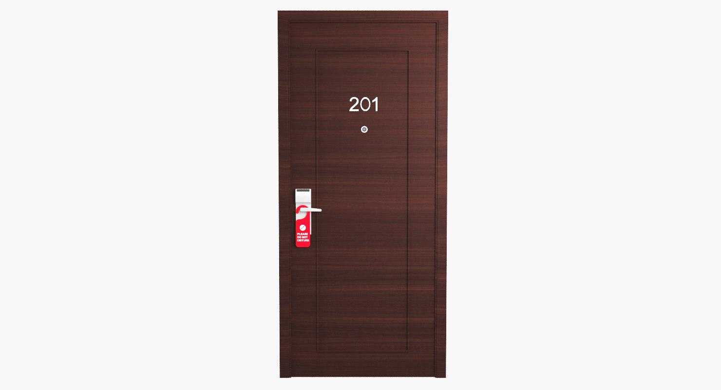 hotel door handle sign 3D