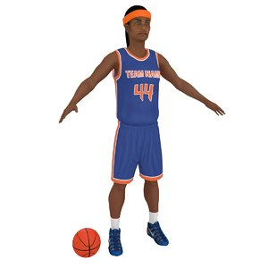 3D model female basketball player ball