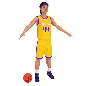 3D female basketball player ball model