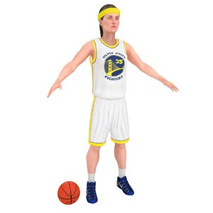 3D female basketball player ball