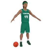 female basketball player ball 3D