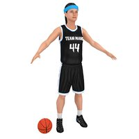 female basketball player ball 3D model