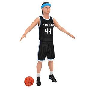 female basketball player ball 3D model