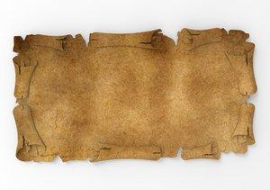 3D old parchment model