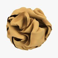 3D crumpled paper ball brown model