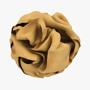 3D crumpled paper ball brown model