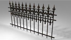 3D old black railing model