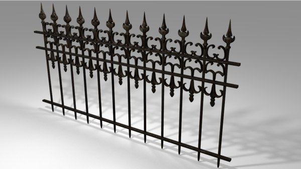 3D old black railing model
