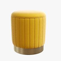 roche yellow velvet stool 3D