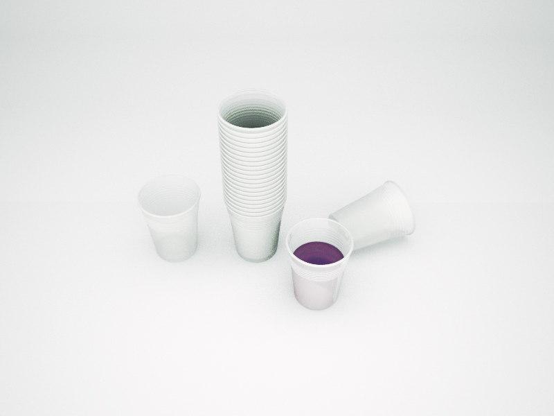3D plastic cups