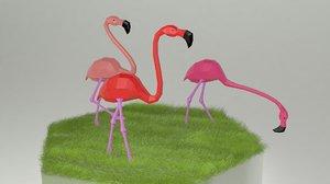 3D flamingo bird oby model