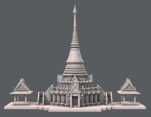 temple pagoda v01 3D model