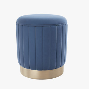roche blue velvet stool 3D model