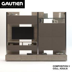 3D tv stand furniture gautier